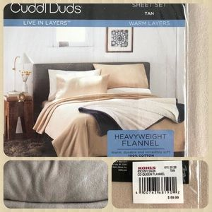 Flannel Cotton Sheet Set Cuddl Duds Tan NWT